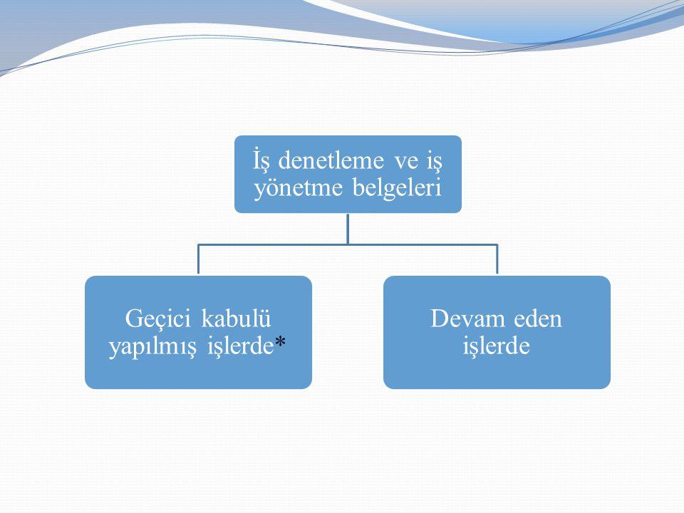 İş denetleme ve iş yönetme belgeleri Geçici kabulü yapılmış işlerde* Devam eden işlerde