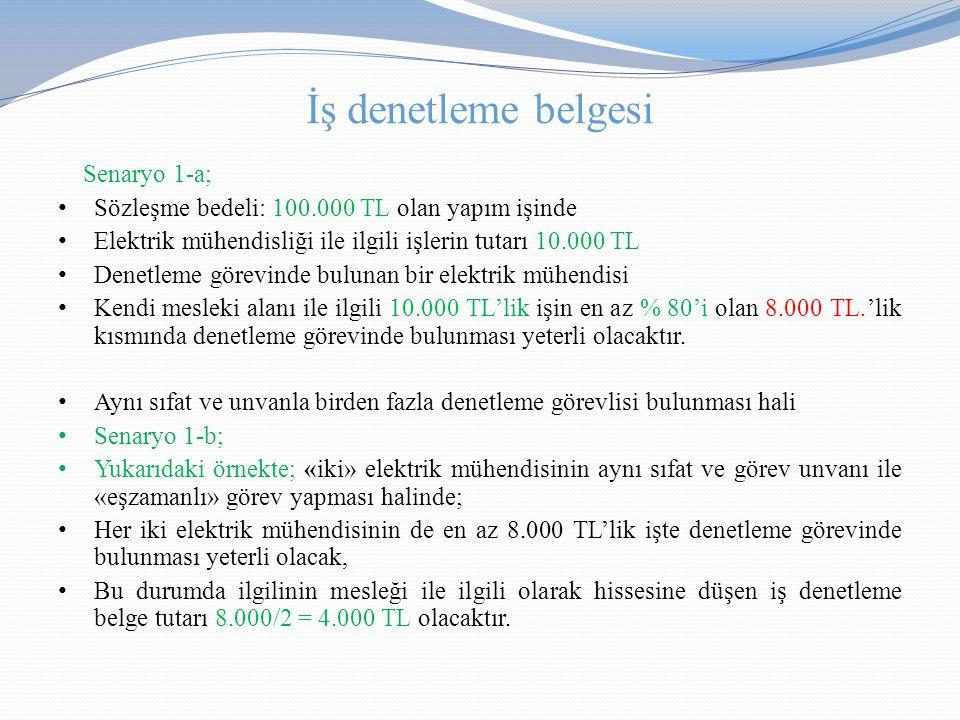 İş denetleme belgesi Senaryo 1-a; • Sözleşme bedeli: 100.000 TL olan yapım işinde • Elektrik mühendisliği ile ilgili işlerin tutarı 10.000 TL • Denetl