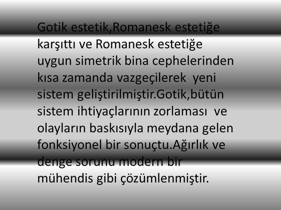 Gotik estetik,Romanesk estetiğe karşıttı ve Romanesk estetiğe uygun simetrik bina cephelerinden kısa zamanda vazgeçilerek yeni sistem geliştirilmiştir
