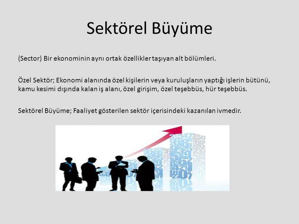 Sektörel Büyüme (Sector) Bir ekonominin aynı ortak özellikler taşıyan alt bölümleri. Özel Sektör; Ekonomi alanında özel kişilerin veya kuruluşların ya