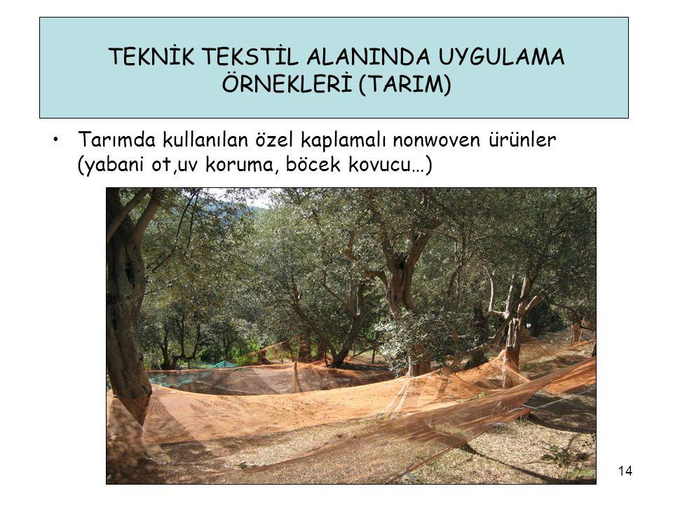 TEKNİK TEKSTİL ALANINDA UYGULAMA ÖRNEKLERİ (TARIM) 14 •Tarımda kullanılan özel kaplamalı nonwoven ürünler (yabani ot,uv koruma, böcek kovucu…)