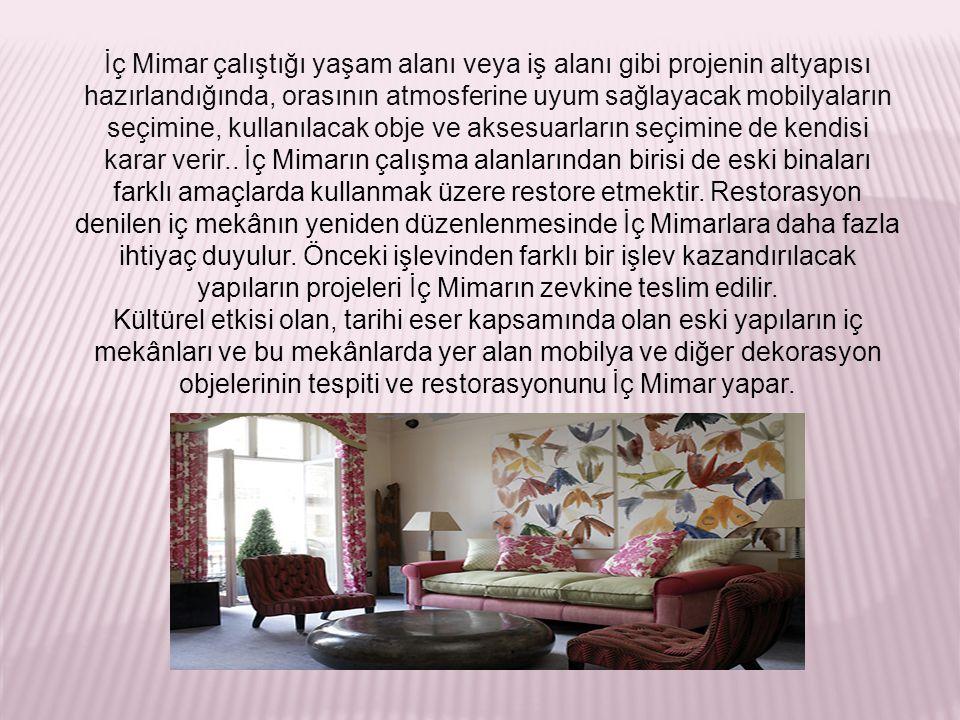 Türkiye'de İçmimarlık Türkiye'de iç mimarlık odasına kayıtlı iç mimarların yüzde ellisi İstanbul'da, yüzde yirmisi Ankara'da, yüzde onu İzmir'de ve kalan yüzde yirmisi ise ülkemizin diğer şehirlerde mesleklerini devam ettirmektedirler.