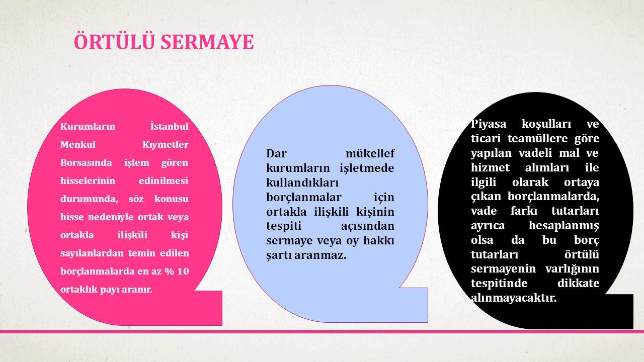 ÖRTÜLÜ SERMAYE Kurumların İstanbul Menkul Kıymetler Borsasında işlem gören hisselerinin edinilmesi durumunda, söz konusu hisse nedeniyle ortak veya or