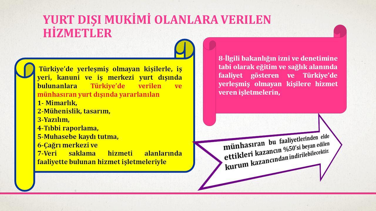 YURT DIŞI MUKİMİ OLANLARA VERILEN HİZMETLER Türkiye'de yerleşmiş olmayan kişilerle, iş yeri, kanuni ve iş merkezi yurt dışında bulunanlara Türkiye'de