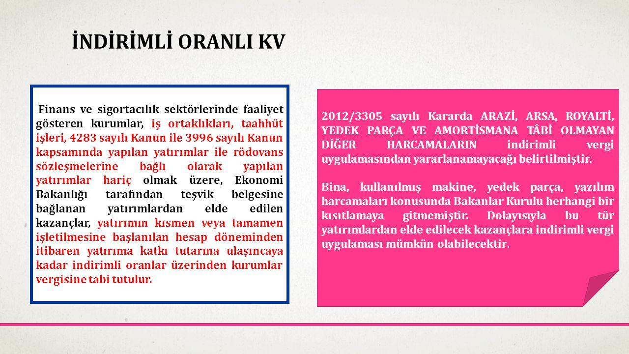 İNDİRİMLİ ORANLI KV Finans ve sigortacılık sektörlerinde faaliyet gösteren kurumlar, iş ortaklıkları, taahhüt işleri, 4283 sayılı Kanun ile 3996 sayıl