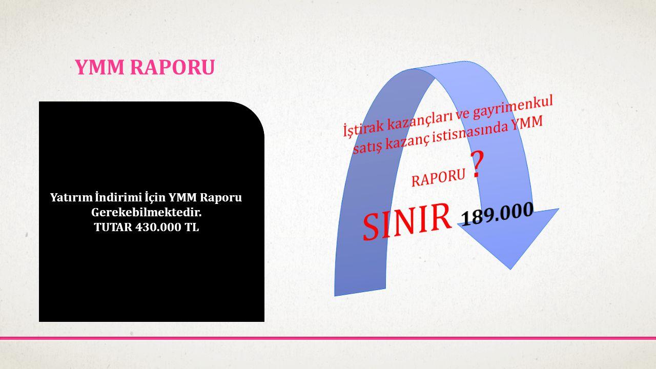 YMM RAPORU Yatırım İndirimi İçin YMM Raporu Gerekebilmektedir. TUTAR 430.000 TL