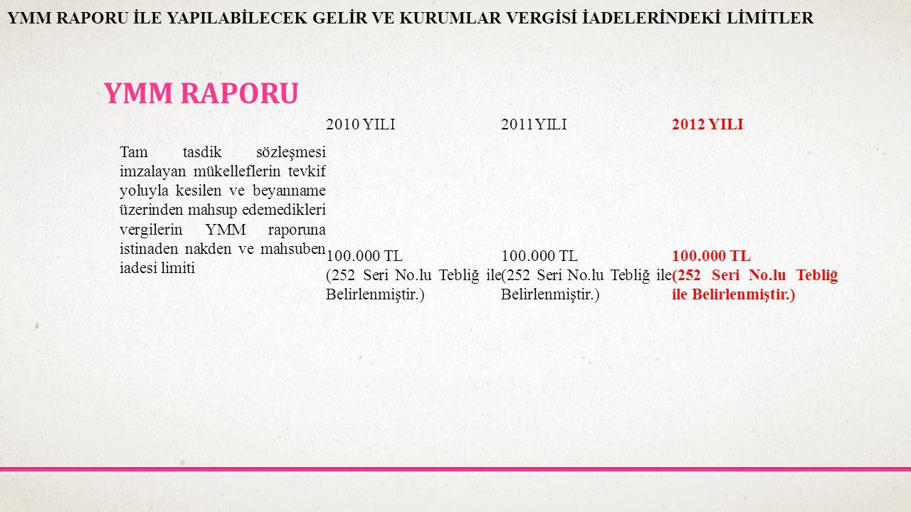 YMM RAPORU 2010 YILI2011YILI2012 YILI Tam tasdik sözleşmesi imzalayan mükelleflerin tevkif yoluyla kesilen ve beyanname üzerinden mahsup edemedikleri