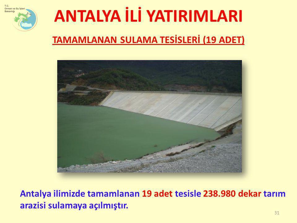 TAMAMLANAN SULAMA TESİSLERİ (19 ADET) Antalya ilimizde tamamlanan 19 adet tesisle 238.980 dekar tarım arazisi sulamaya açılmıştır. ANTALYA İLİ YATIRIM