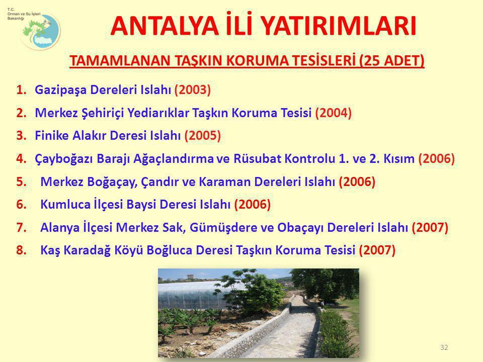 1.Gazipaşa Dereleri Islahı (2003) 2.Merkez Şehiriçi Yediarıklar Taşkın Koruma Tesisi (2004) 3.Finike Alakır Deresi Islahı (2005) 4.Çayboğazı Barajı Ağ