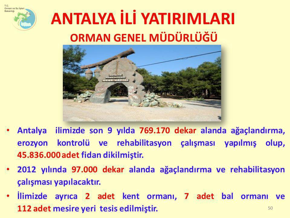 • Antalya ilimizde son 9 yılda 769.170 dekar alanda ağaçlandırma, erozyon kontrolü ve rehabilitasyon çalışması yapılmış olup, 45.836.000 adet fidan di