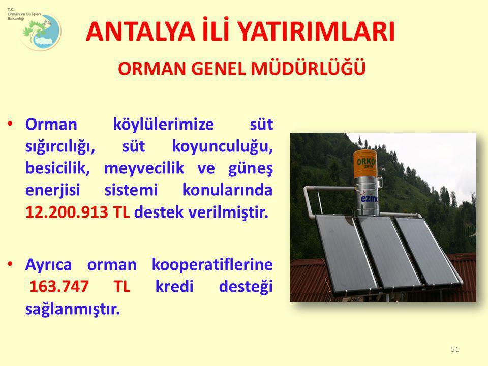 • Orman köylülerimize süt sığırcılığı, süt koyunculuğu, besicilik, meyvecilik ve güneş enerjisi sistemi konularında 12.200.913 TL destek verilmiştir.