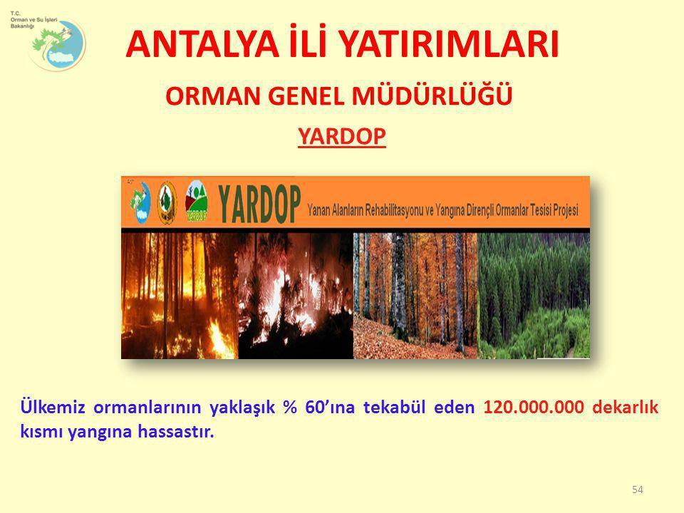 ANTALYA İLİ YATIRIMLARI YARDOP 54 ORMAN GENEL MÜDÜRLÜĞÜ Ülkemiz ormanlarının yaklaşık % 60'ına tekabül eden 120.000.000 dekarlık kısmı yangına hassast