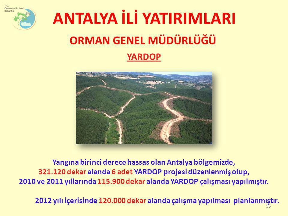 ANTALYA İLİ YATIRIMLARI YARDOP 56 ORMAN GENEL MÜDÜRLÜĞÜ Yangına birinci derece hassas olan Antalya bölgemizde, 321.120 dekar alanda 6 adet YARDOP proj