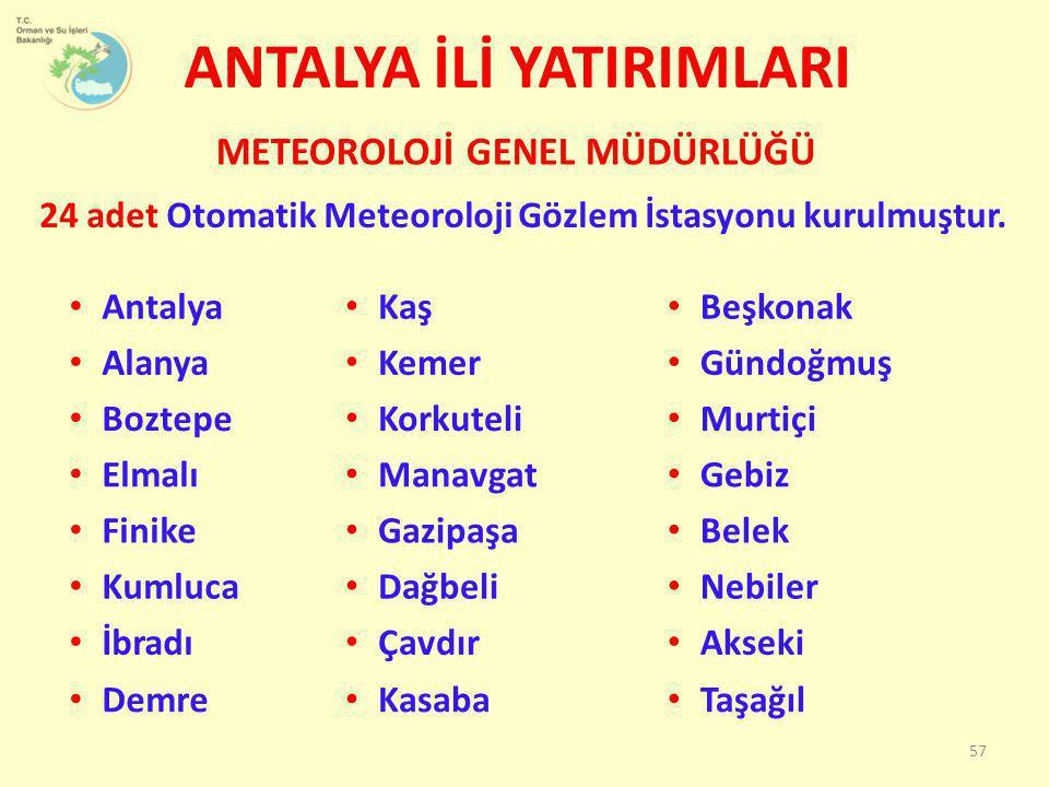 ANTALYA İLİ YATIRIMLARI 24 adet Otomatik Meteoroloji Gözlem İstasyonu kurulmuştur. METEOROLOJİ GENEL MÜDÜRLÜĞÜ 57 • Antalya • Kaş • Beşkonak • Alanya