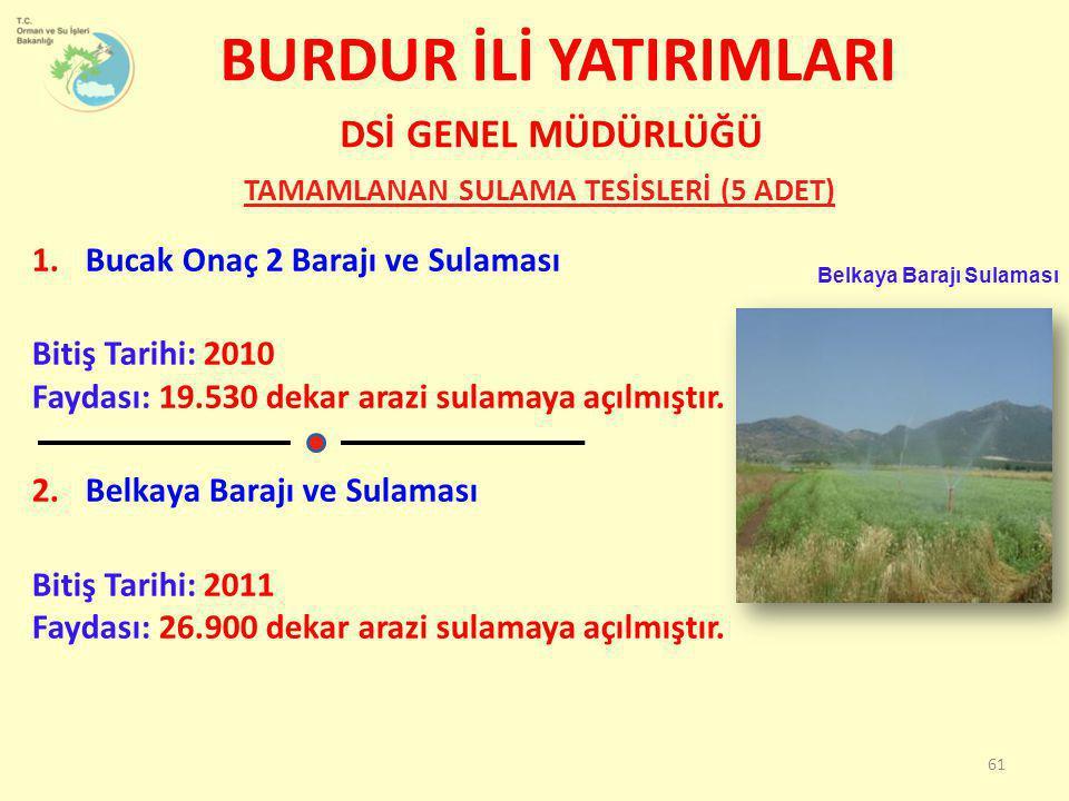 1.Bucak Onaç 2 Barajı ve Sulaması Bitiş Tarihi: 2010 Faydası: 19.530 dekar arazi sulamaya açılmıştır. 2.Belkaya Barajı ve Sulaması Bitiş Tarihi: 2011