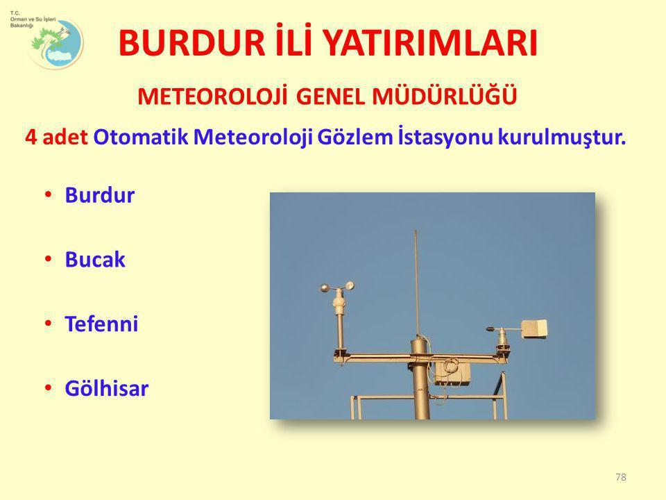 BURDUR İLİ YATIRIMLARI 4 adet Otomatik Meteoroloji Gözlem İstasyonu kurulmuştur. METEOROLOJİ GENEL MÜDÜRLÜĞÜ 78 • Burdur • Bucak • Tefenni • Gölhisar
