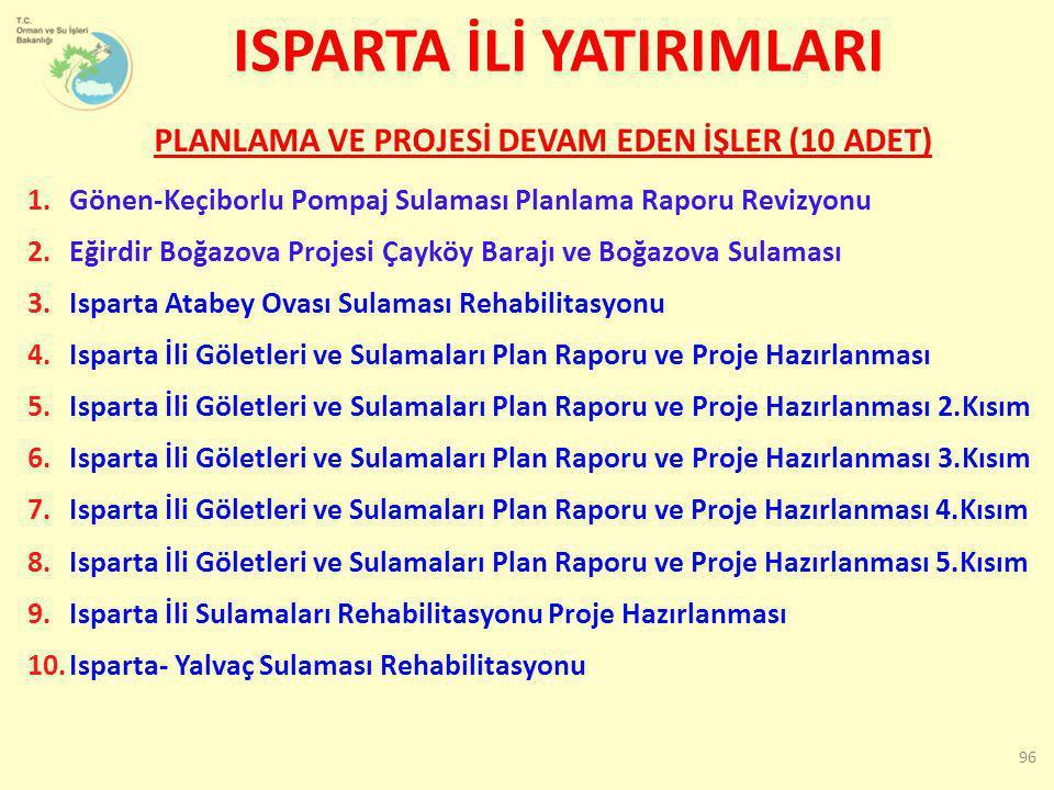 1.Gönen-Keçiborlu Pompaj Sulaması Planlama Raporu Revizyonu 2.Eğirdir Boğazova Projesi Çayköy Barajı ve Boğazova Sulaması 3.Isparta Atabey Ovası Sulam