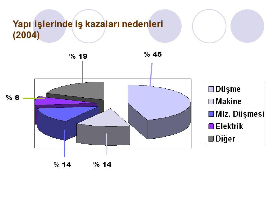 Yapı işlerinde iş kazaları nedenleri (2004) % 45 % 19 % 8 % 14