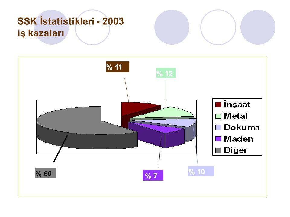 SSK İstatistikleri - 2003 iş kazaları % 11 % 12 % 10 % 7 % 60