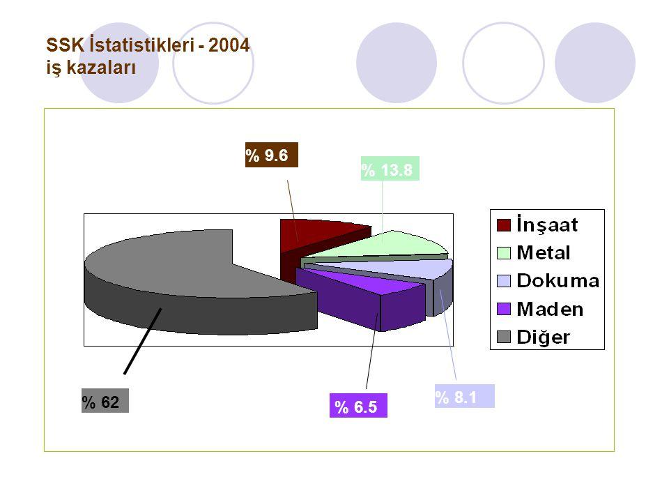 SSK İstatistikleri - 2004 iş kazaları % 9.6 % 13.8 % 8.1 % 6.5 % 62