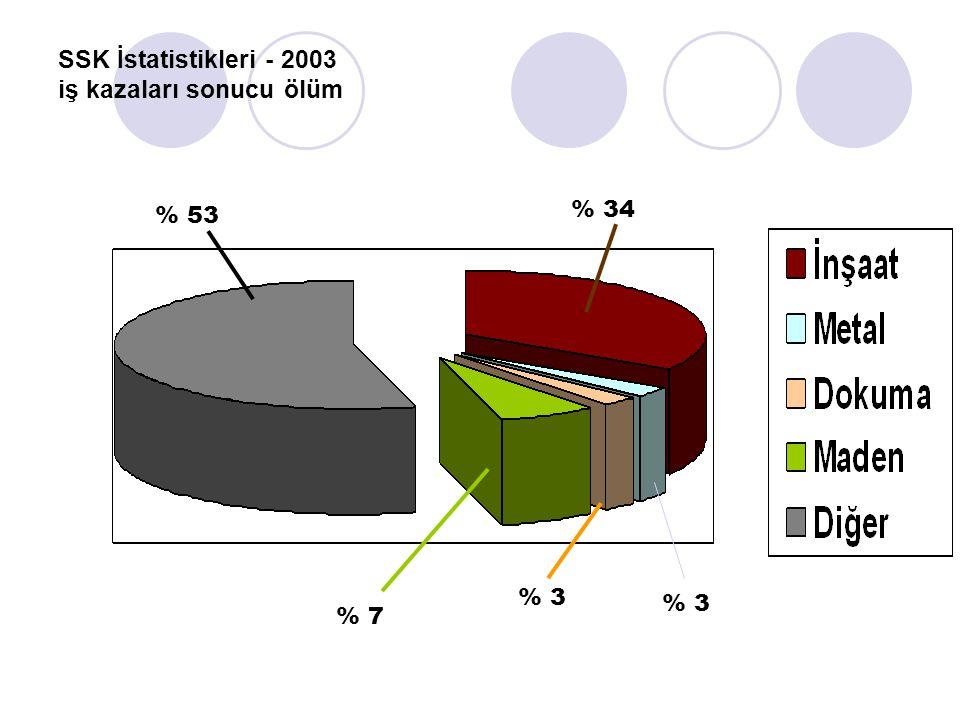 SSK İstatistikleri - 2003 iş kazaları sonucu ölüm % 34 % 7 % 3 % 53