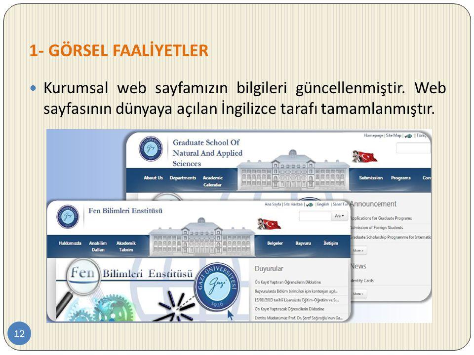 1- GÖRSEL FAALİYETLER 12  Kurumsal web sayfamızın bilgileri güncellenmiştir. Web sayfasının dünyaya açılan İngilizce tarafı tamamlanmıştır.