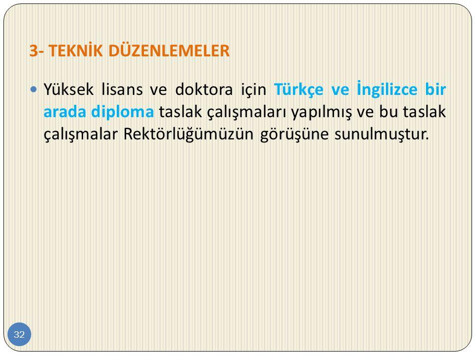 3- TEKNİK DÜZENLEMELER 32  Yüksek lisans ve doktora için Türkçe ve İngilizce bir arada diploma taslak çalışmaları yapılmış ve bu taslak çalışmalar Re