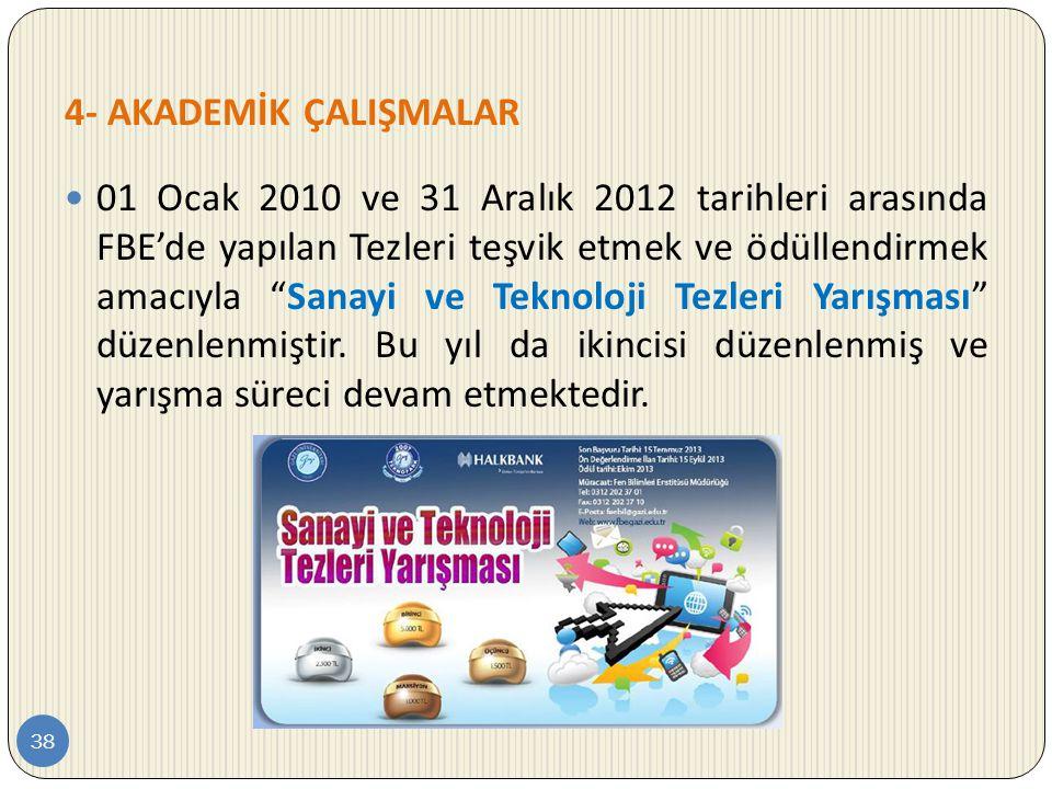 """4- AKADEMİK ÇALIŞMALAR 38  01 Ocak 2010 ve 31 Aralık 2012 tarihleri arasında FBE'de yapılan Tezleri teşvik etmek ve ödüllendirmek amacıyla """"Sanayi ve"""