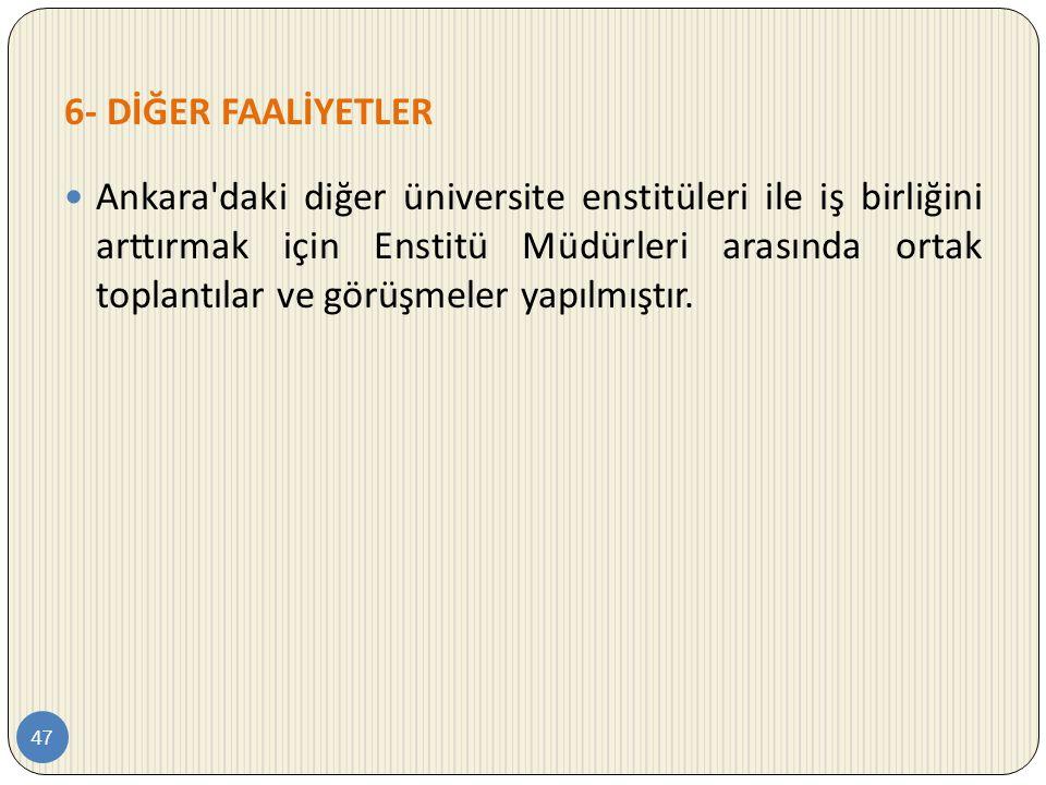 6- DİĞER FAALİYETLER 47  Ankara'daki diğer üniversite enstitüleri ile iş birliğini arttırmak için Enstitü Müdürleri arasında ortak toplantılar ve gör