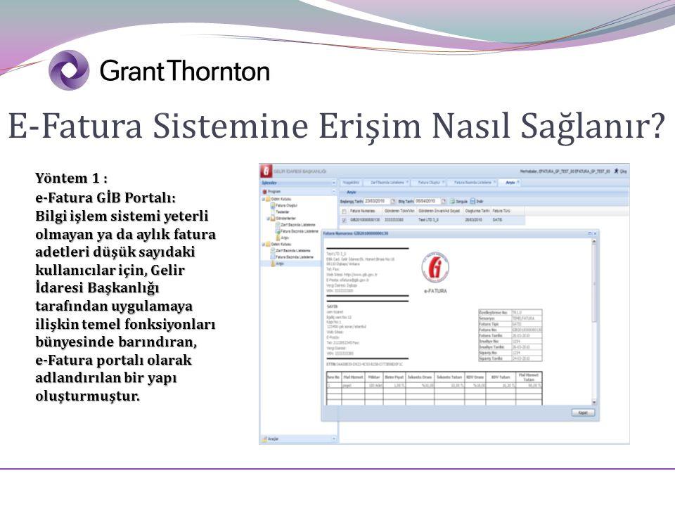 E-Fatura Sistemine Erişim Nasıl Sağlanır? Yöntem 1 : e-Fatura GİB Portalı: Bilgi işlem sistemi yeterli olmayan ya da aylık fatura adetleri düşük sayıd