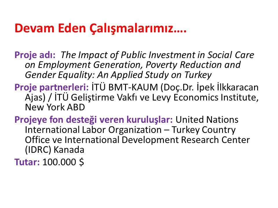 Devam Eden Çalışmalarımız…. Proje adı: The Impact of Public Investment in Social Care on Employment Generation, Poverty Reduction and Gender Equality: