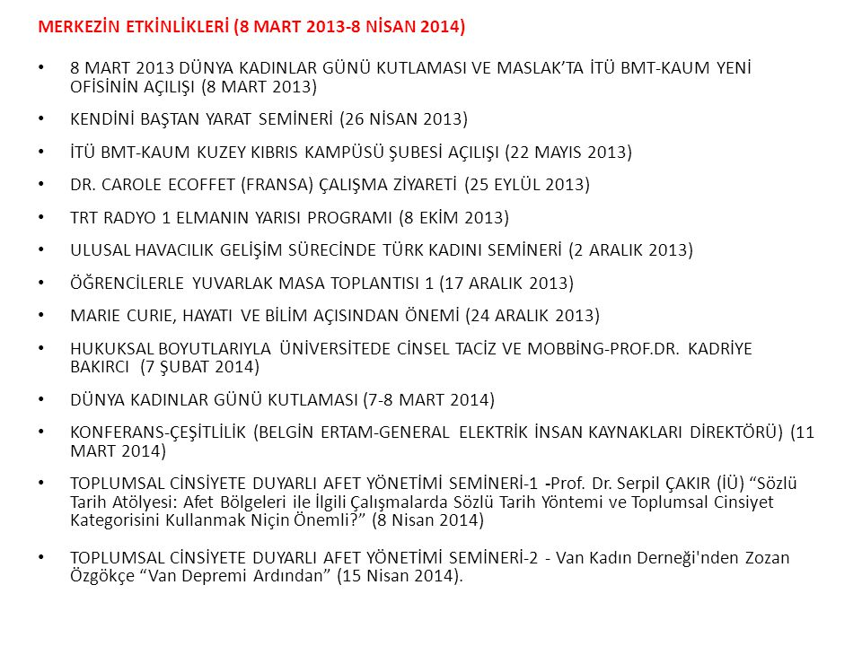 KONUŞMACI VE DAVETLİ OLARAK KATILINAN TOPLANTILAR • KADINLARIN KARAR ALMA SÜREÇLERİNE KATILIMI (21 MART 2013) • AÇEV: EŞİTLİK İÇİN ERKEKLER DE BURADA (28 MART 2013) • KÖKLERİNE YÖNELENLER GELECEĞE UZANIRLAR MEKTUP VE PUL SERGİSİ (25 MART 2013) • ÜNİVERSİTEDE CİNSEL TACİZ VE HUKUKSAL BOYUTLARI (11 NISAN 2013) • CİNSEL TACİZ VE SALDIRIYA KARŞI ÜNİVERSİTELERDE NELER YAPILABİLİR.