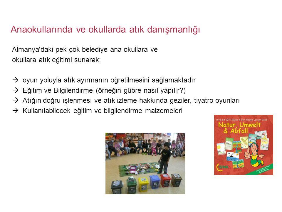Anaokullarında ve okullarda atık danışmanlığı Almanya'daki pek çok belediye ana okullara ve okullara atık eğitimi sunarak:  oyun yoluyla atık ayırman