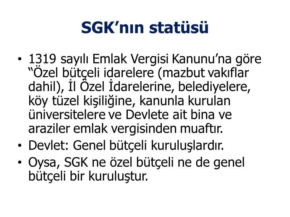 """SGK'nın statüsü • 1319 sayılı Emlak Vergisi Kanunu'na göre """"Özel bütçeli idarelere (mazbut vakıflar dahil), İl Özel İdarelerine, belediyelere, köy tüz"""