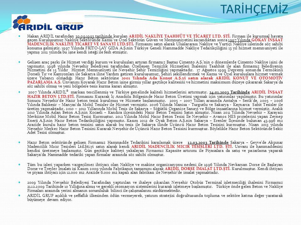 TARİHÇEMİZ  Hakan ARIDİL tarafından 30.09.1993 tarihinde kurulan ARIDİL NAKLİYE TAAHHÜT VE TİCARET LTD. ŞTİ. Firması ile kurumsal hayata geçen Kurulu