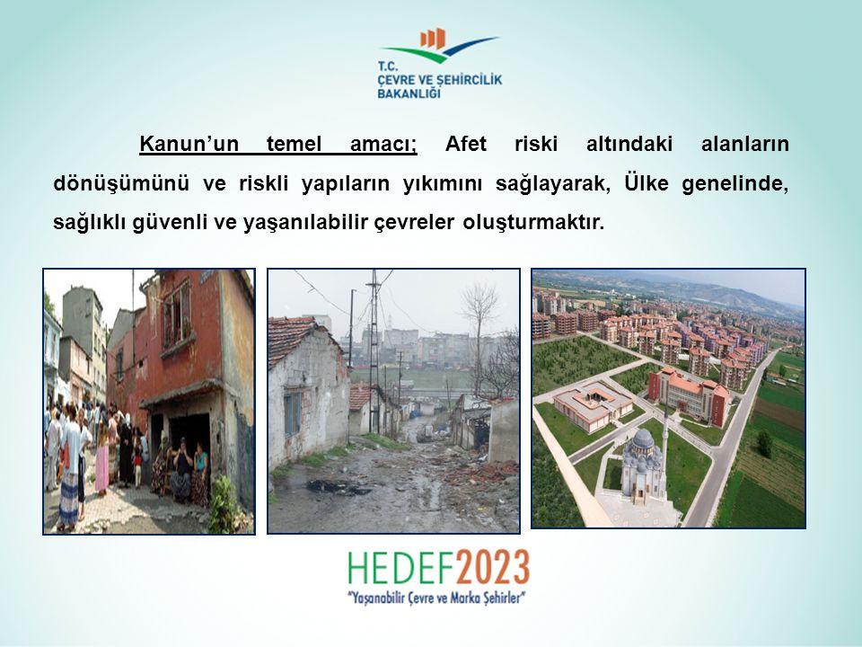 Kanun'un temel amacı; Afet riski altındaki alanların dönüşümünü ve riskli yapıların yıkımını sağlayarak, Ülke genelinde, sağlıklı güvenli ve yaşanılab