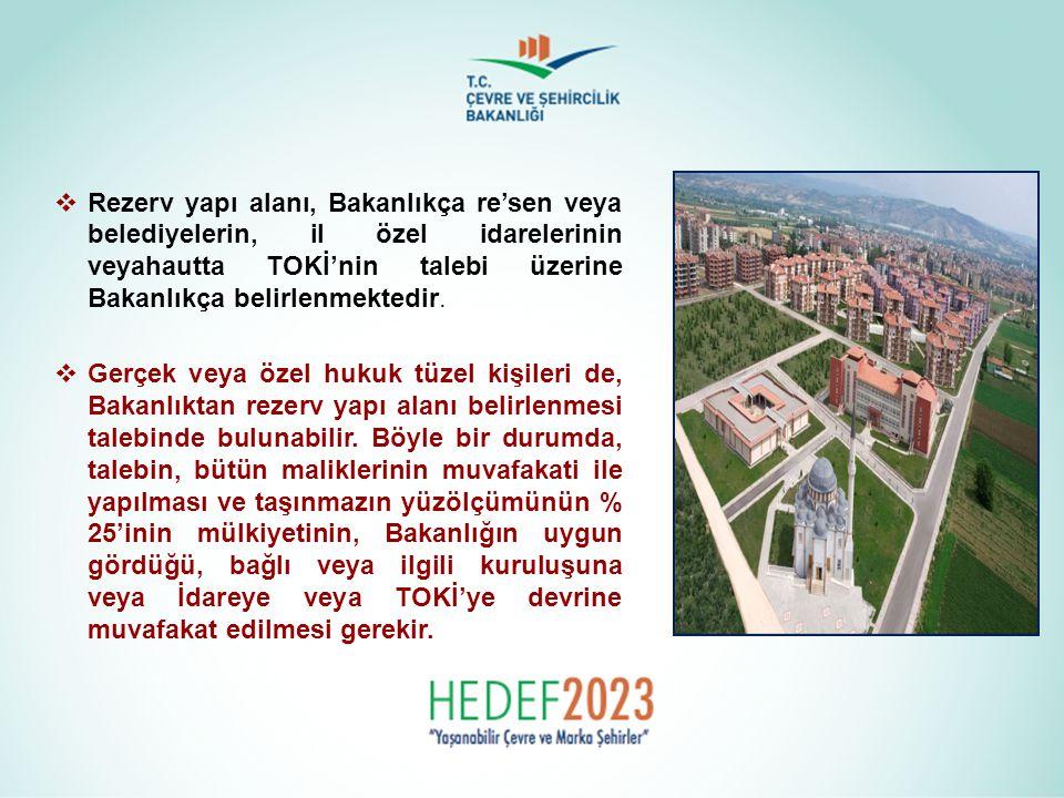  Rezerv yapı alanı, Bakanlıkça re'sen veya belediyelerin, il özel idarelerinin veyahautta TOKİ'nin talebi üzerine Bakanlıkça belirlenmektedir.  Gerç