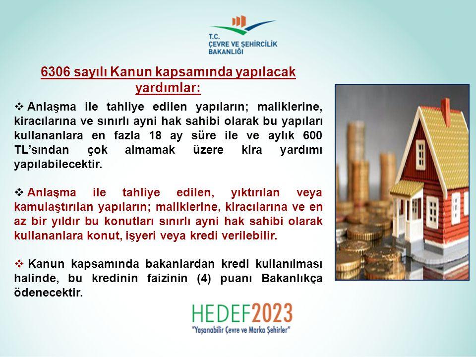 6306 sayılı Kanun kapsamında yapılacak yardımlar:  Anlaşma ile tahliye edilen yapıların; maliklerine, kiracılarına ve sınırlı ayni hak sahibi olarak