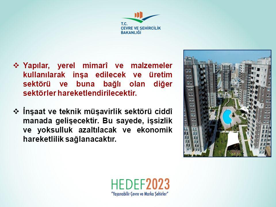  Yapılar, yerel mimarî ve malzemeler kullanılarak inşa edilecek ve üretim sektörü ve buna bağlı olan diğer sektörler hareketlendirilecektir.  İnşaat