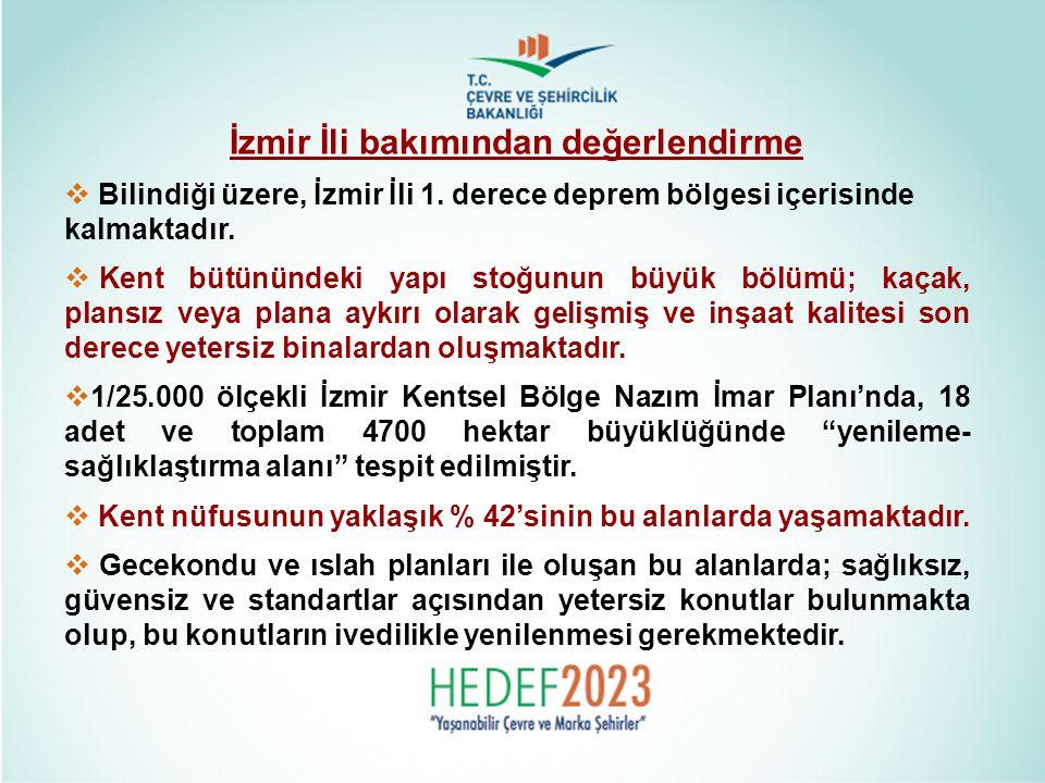 İzmir İli bakımından değerlendirme  Bilindiği üzere, İzmir İli 1. derece deprem bölgesi içerisinde kalmaktadır.  Kent bütünündeki yapı stoğunun büyü