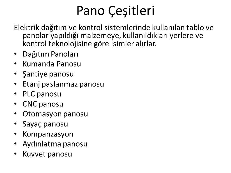 Pano Çeşitleri Elektrik dağıtım ve kontrol sistemlerinde kullanılan tablo ve panolar yapıldığı malzemeye, kullanıldıkları yerlere ve kontrol teknoloji