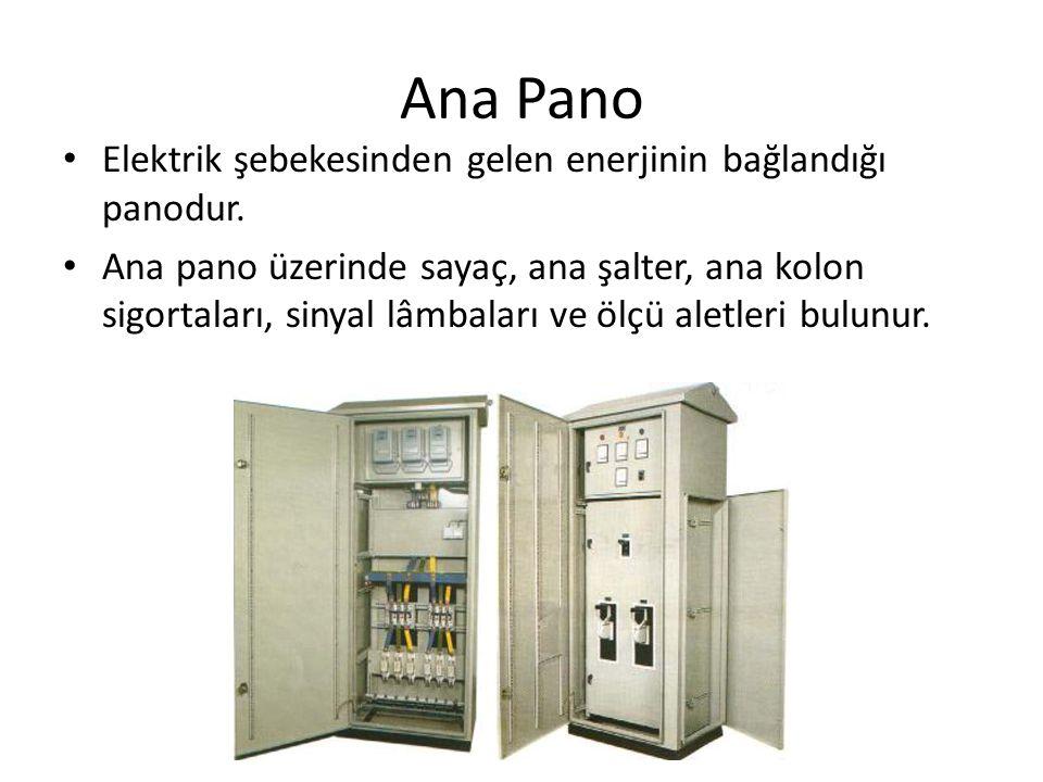 Ana Pano • Elektrik şebekesinden gelen enerjinin bağlandığı panodur. • Ana pano üzerinde sayaç, ana şalter, ana kolon sigortaları, sinyal lâmbaları ve