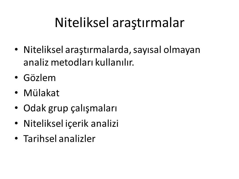 Niteliksel araştırmalar • Niteliksel araştırmalarda, sayısal olmayan analiz metodları kullanılır.