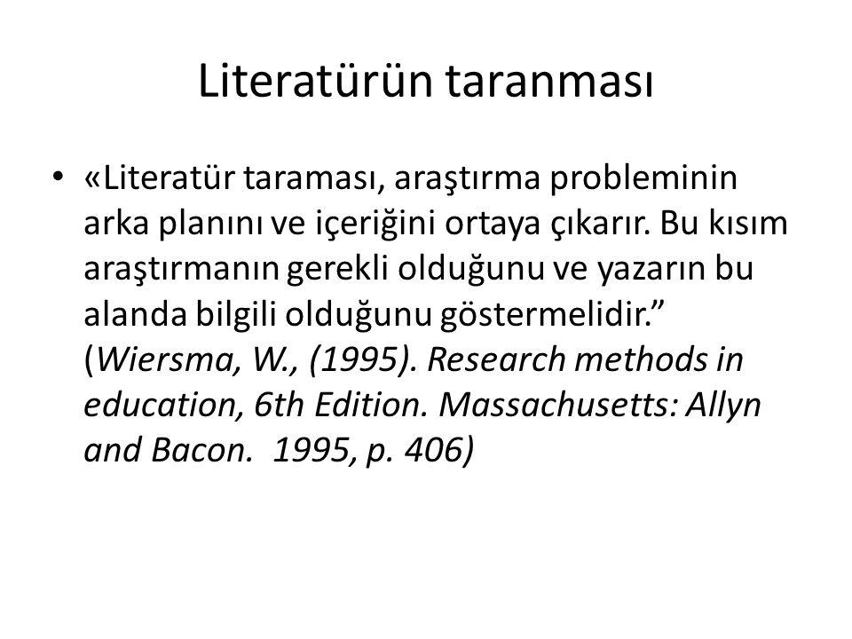 Literatürün taranması • «Literatür taraması, araştırma probleminin arka planını ve içeriğini ortaya çıkarır.