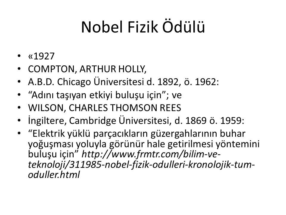 Nobel Fizik Ödülü • «1927 • COMPTON, ARTHUR HOLLY, • A.B.D.