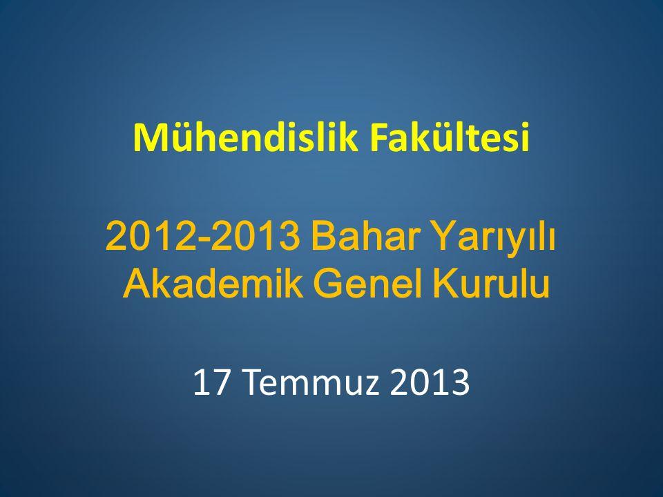Mühendislik Fakültesi 2012-2013 Bahar Yarıyılı Akademik Genel Kurulu 17 Temmuz 2013