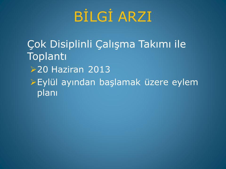 BİLGİ ARZI Çok Disiplinli Çalışma Takımı ile Toplantı  20 Haziran 2013  Eylül ayından başlamak üzere eylem planı