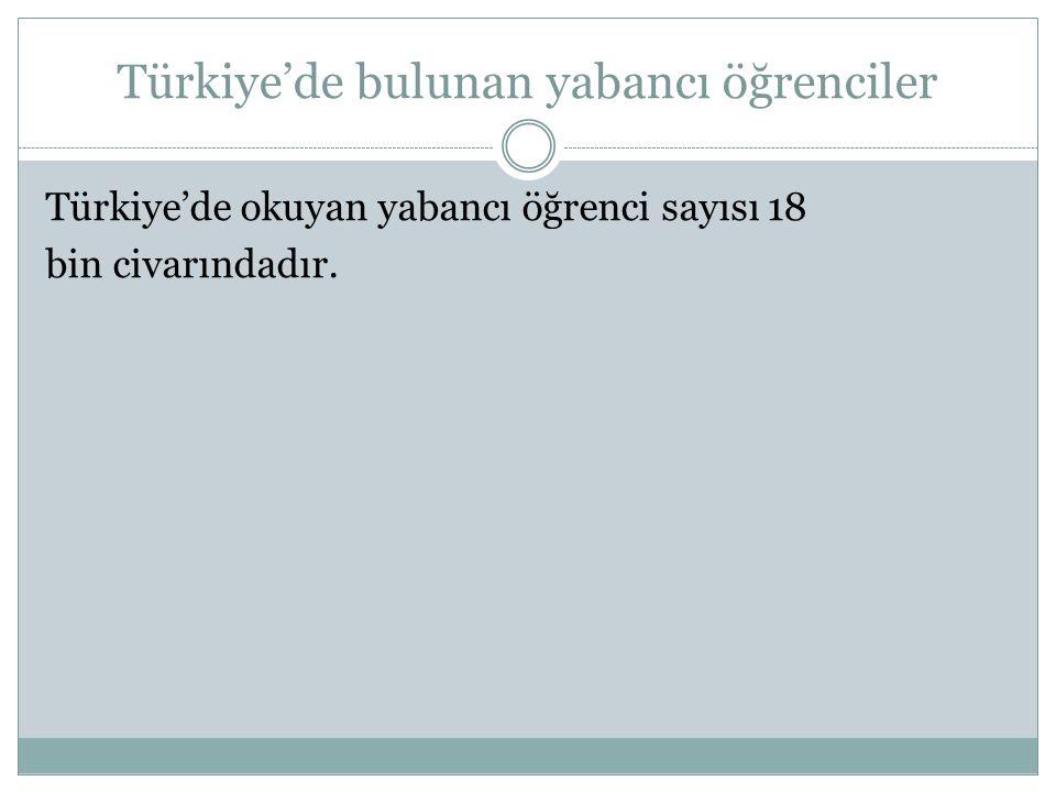 Türkiye'de bulunan yabancı öğrenciler Türkiye'de okuyan yabancı öğrenci sayısı 18 bin civarındadır.