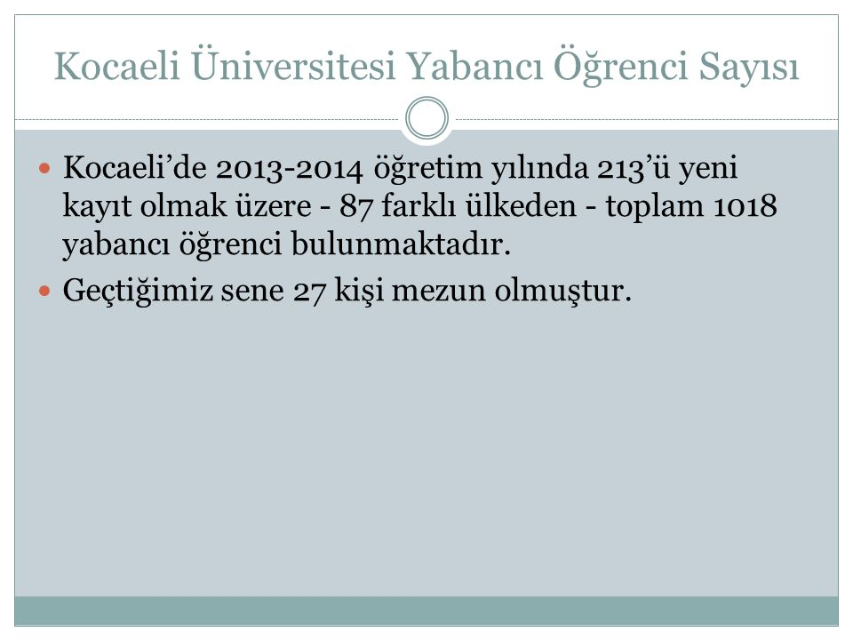 Kocaeli Üniversitesi Yabancı Öğrenci Sayısı  Kocaeli'de 2013-2014 öğretim yılında 213'ü yeni kayıt olmak üzere - 87 farklı ülkeden - toplam 1018 yaba