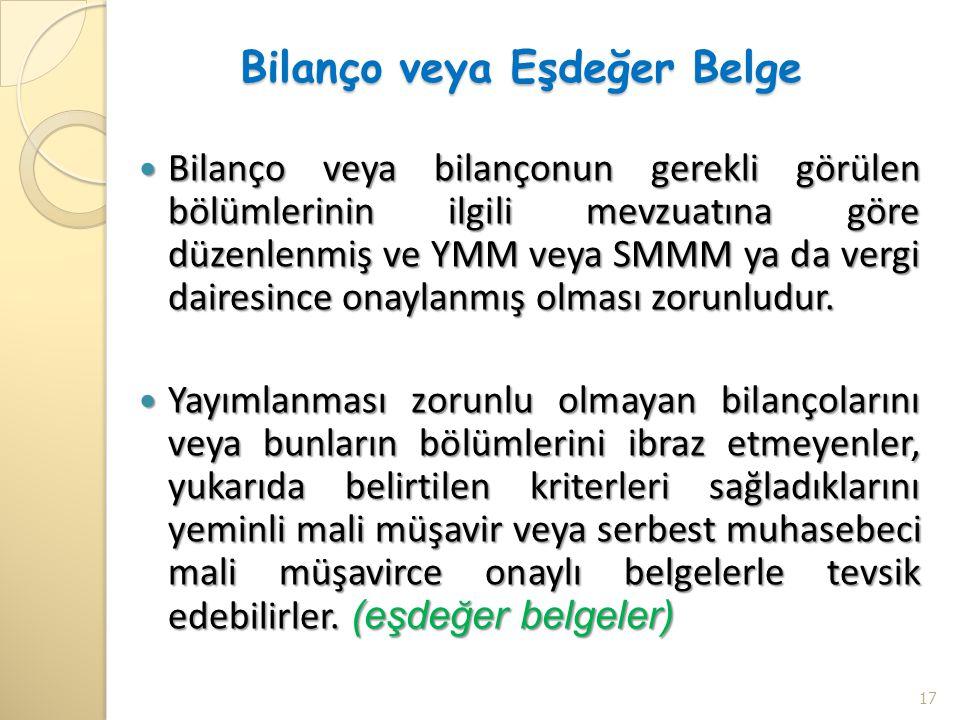 Bilanço veya Eşdeğer Belge  Bilanço veya bilançonun gerekli görülen bölümlerinin ilgili mevzuatına göre düzenlenmiş ve YMM veya SMMM ya da vergi dair